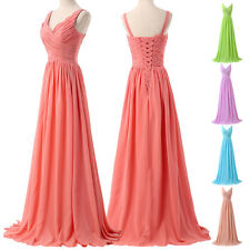 2 Style Cheap Chiffon Long Formal Evening Prom Party Ball Gown Bridesmaid Dress