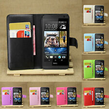 Flip Leather Wallet Case Cover Pouch For HTC Desire 610 & Screen Protector