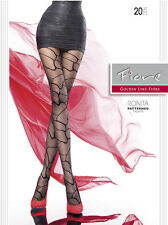 NEW FIORE 20 DENIER BLACK SHEER PATTERNED TIGHTS WOMEN LADIES PANTYHOSE RARE