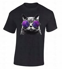 Cat Galaxy Men's T-SHIRT Astro Space Cosmos Glasses Animal Hipster Casual Shirt
