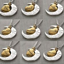 "2015 Gold/Silver Family I LOVE YOU TO THE MOON AND BACK ""Necklace Charm Pendant"