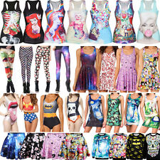 Sexy Women Graphic Print Bikini Skater Dress Punk Vest Skinny Leggings Sweater