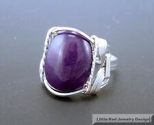 Sterling Silver Purple Jade Cabochon Wire Wrapped Ring