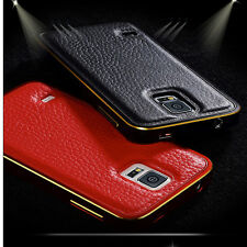 Luxury Leather Back + Metal Bumper Case Cover for Samsung Galaxy S4 S5 Note 3 4