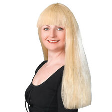 "#BUDGET FRINGE WIG 24""  IN TWO COLOURS BLACK / BLONDE FANCY DRESS ACCESSORY"