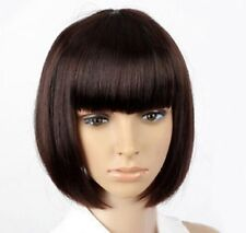 Bob Style Women black brown Synthetic Bangs Straight Hair Full Cosplay Short Wig