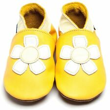 Inch Blue Girls Boys Luxury Leather Soft Sole Baby Shoes - Geranium Yellow White