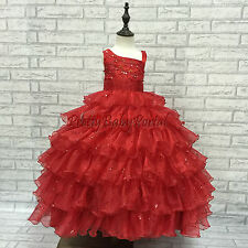 NEW GIRLS Baby Toddler Kids Gorgeous RED Princess Pageant Party Wedding Dress