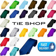 New Mens Satin High Quality Plain Wedding Tie Necktie UK
