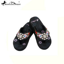 Montana West Girls Wedge Flip Flops Flower Concho Floral Strap Rhinestones kids