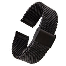 Golden/Silver/Black 20/22mm Stainless Steel Wrist Watch Mesh Band Buckle Mens