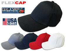 FlexCap Cotton Combed Twill Fitted Plain Baseball Cap Hat - 6 Panel S/M L/XL
