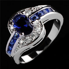 Sz6-10 Jewelry Shining Blue Sapphire Women14KT White Gold Filled Engagement Ring