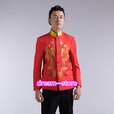 Mens Red Dragon Embroidery Chinese Tunic Suit and Pants Tang Costume Jacket