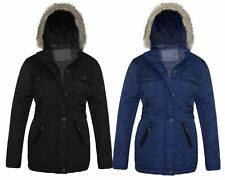 LADIES WOMENS QUILTED PADDED FAUX FUR HOODED ZIP POCKET BUTTON JACKET COAT 10-18