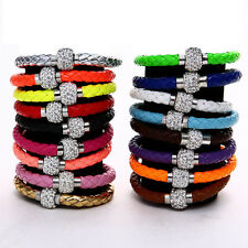 Leather Wrap Wristband Cuff Punk Magnetic Rhinestone Buckle Bracelet Bangle A1