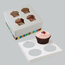 Four Cupcake Cake White Patterned Boxes  With Insert  Clear Window Fold Flat