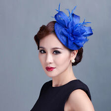 Lady party races fascinators handmade floral feather sinamay hat with multicolor