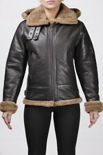 Womens Shearling Sheepskin Brown Ginger Fur 'Air force' Aviator Flying B3 Jacket