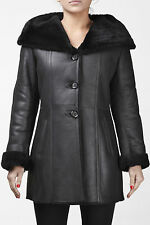 Ladies Sheepskin Shearling Leather Winter Aviator Flying Hooded Belted Jacket