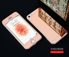Gold Mirror Tempered Glass Front + Back Screen Protector For iPhone 6 5 5S 4