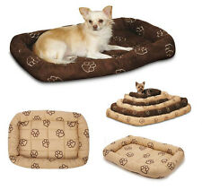 Embroidered Pawprint Bolster Beds for Dogs - Soft Dog Crate Bed with Paw Print !