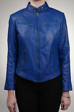Ladies Real Leather Electric Blue Fitted Bikers Vintage Style Jacket