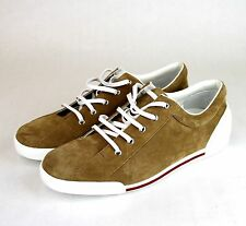 New Authentic Gucci Mens Suede Sneaker w/Script, Brown, 281009 2309