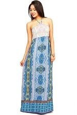 New Flying Tomato Cute Beach Dress Bold Tribal Print Halter Long Maxi Dresses