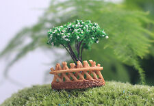 Mini Wooden Fence Resin Crafts Micro Landscape Decor Nature ornament Stakes