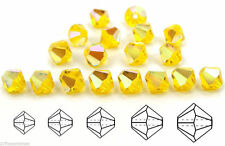 Czech MC Glass Bicone Beads (Rondell/Diamond) Citrine AB rich yellow AB crystals