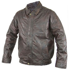 USA Leather Mens Distressed Brown Leather Bomber Motorcycle Jacket