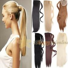 Wrap Around Clip In On Ponytail Hair Extensions Pony Tail Straight Hair Piece