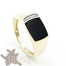 9ct REAL GOLD 1.2ct GENUINE BLACK AGATE DIAMOND Mens Ring Father Gifts Full Size