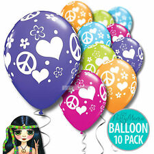HIPPIE 60S 70S  BIRTHDAY PARTY SUPPLIES DECORATIONS BALLOONS ~ PACK OF 10