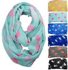 Women Dove Animal Pattern Cowl Loop Infinity Scarf Voile Chiffon Wrap Scarves