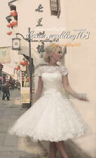 Stock New White/Ivory Lace Short Wedding Dress Bridal Gown Size 6 -18