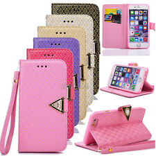 Flip Gold Embossing PU Leather Wallet Case Cover For iPhone 4S 5S SE 6 6S Plus