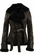 Ladies Double Breasted Real Shearling Sheepskin Aviator Black Leather Jacket