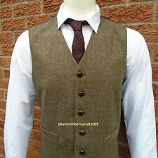 MENS WOOL BROWN TWEED WAISTCOAT DONEGAL LlOYD ATTREE & SMITH M L XL XXL