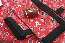 ALABAMA CRIMSON TIDE PAISLEY COTTON CLOTH TABLECLOTH - 2 SIZES, NAPKINS