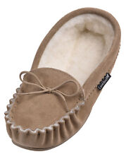 Mens / Gents Sheepskin Moccasin Slipper With Hard wearing Sole / British Made