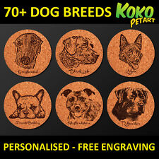 4X Personalised Laser Engraved Vintage Style Cork All Popular Dog Breed Coasters