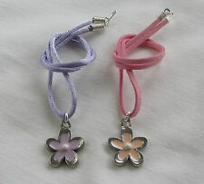 Handmade Childs Girls Pretty Pink & Lilac Flower Faux Suede Necklace - Gift Idea
