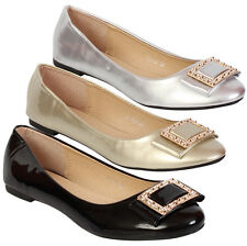 Ladies Ballerina Pumps Womens Casual Flat Shoes Slip On Pumps Dolly Shoe
