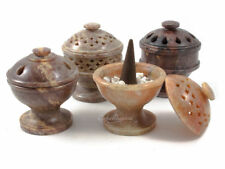 Small Soapstone Incense Cone Burner Pot w/ Lid -for burning charcoal resin cones