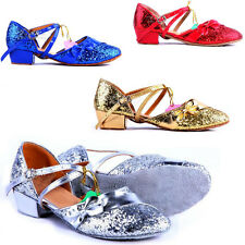 Women Shoes Children Girls Kid Latin Salsa Tango Glitter Ballroom Dance Sequins