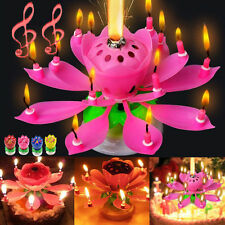 Hot Cake Topper Birthday Lotus Flower Decoration Candle Blossom Musical Rotating