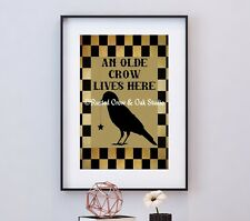 Black Tan Americana Rustic An Olde Crow Bird Prim Home Decor Matted Picture A750