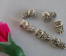 100pcs Tibet Silver Lovely Exquisite Two-Sided Owl Charm Bead Spacer 6x10mm Free